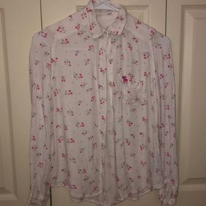 White/Pink Floral Button Down